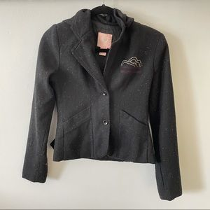 STUSSY wool blend speckled hooded blazer